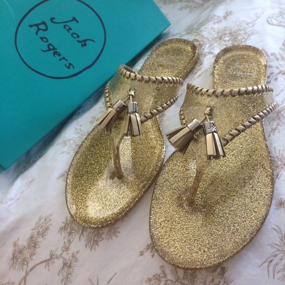 d5e028ff9854 JACK ROGERS Alana Sparkle Gold Jelly Sandals